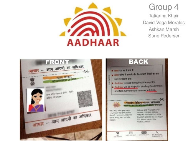 Aadhaar presentation at Harvard by Tatianna Khair David Vega Morales  Ashkan Marsh  Sune Pedersen