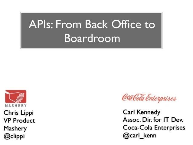 APIs: From Back Office to                BoardroomChris Lippi              Carl KennedyVP Product               Assoc. Dir....