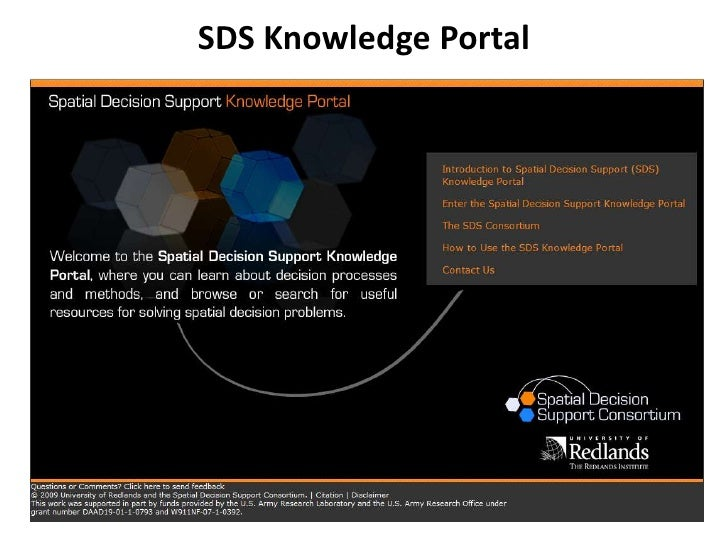 Spatial Decision Support Portal- Presented at AAG 2010