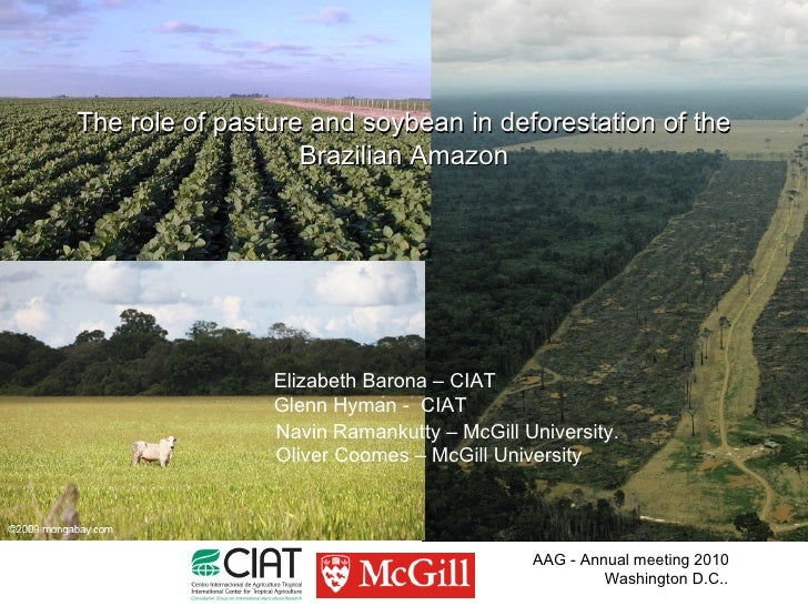 The role of pasture and soybean in deforestation of the                    Brazilian Amazon                     Elizabeth ...