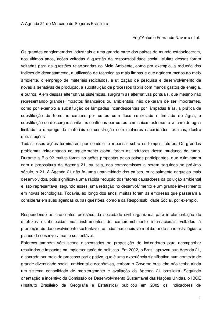 A Agenda 21 do Mercado de Seguros Brasileiro                                                            Eng° Antonio Ferna...