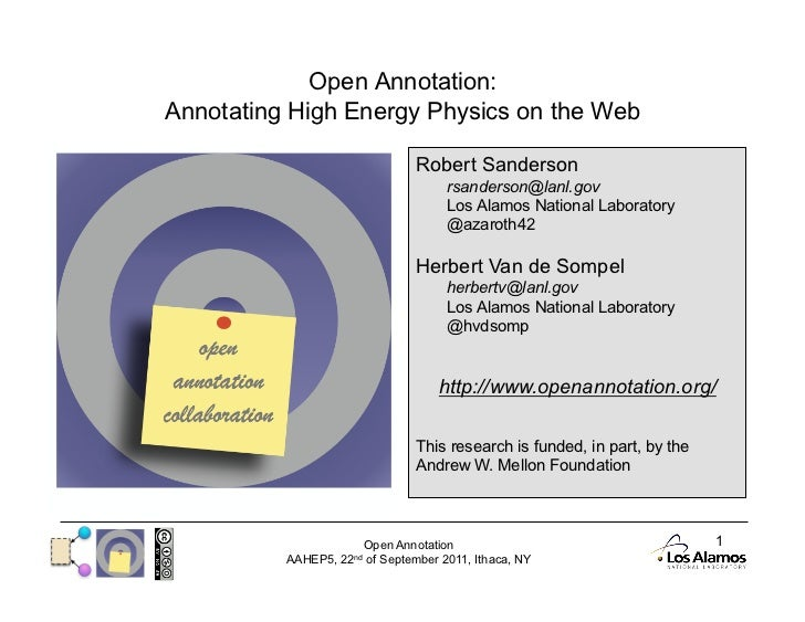 Open Annotation: Annotating High Energy Physics on the Web