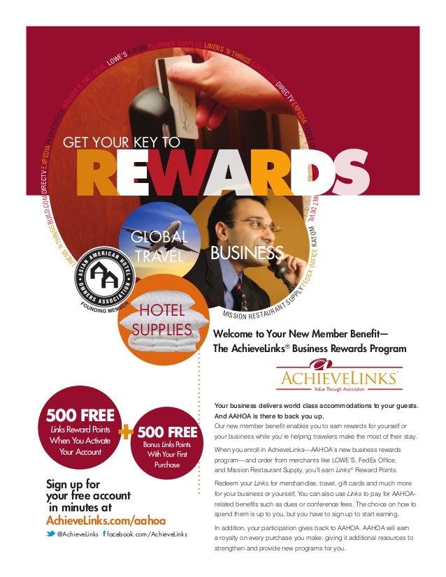 AAHOA Achievelinks Member Loyalty Rewards Program Flier