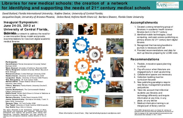Libraries for new medical schools: the creation of a networkfor identifying and supporting the needs of 21 century medical...