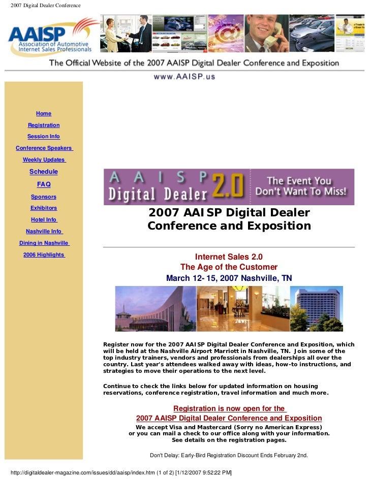 2007 Digital Dealer Conference               Home         Registration         Session Info    Conference Speakers       W...