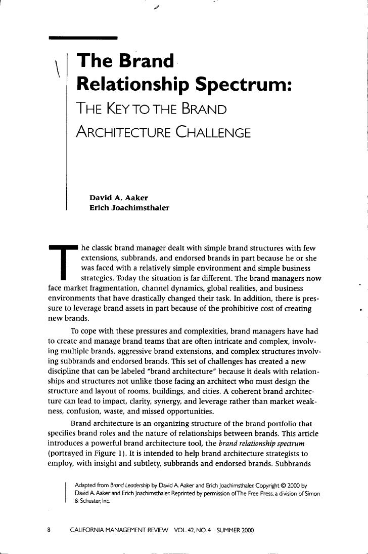The Brand          Relationship Spectrum:        THE KEY TO THE BRAND        ARCHITECTURE CHALLENGE              David A. ...