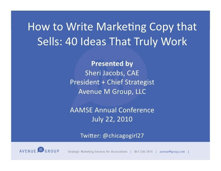 Aamse how to write marketing copy jacobs