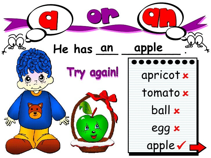 He has  ___ ________ . an apple apple apricot tomato ball egg      Try again!