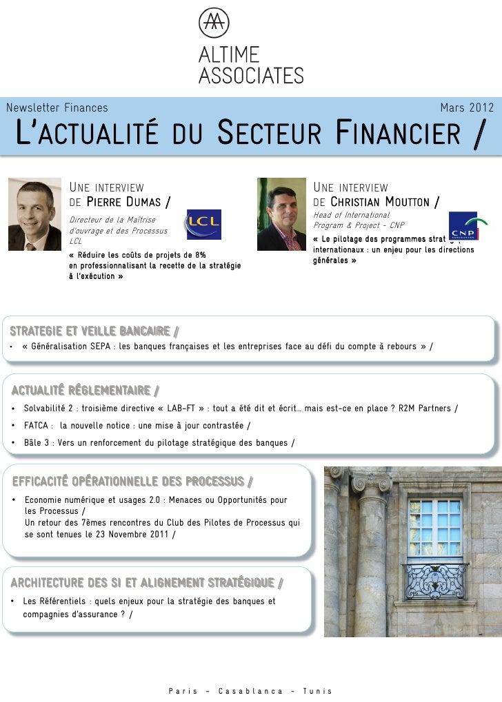 Newsletter Finances                                                                                             Mars 2012 ...