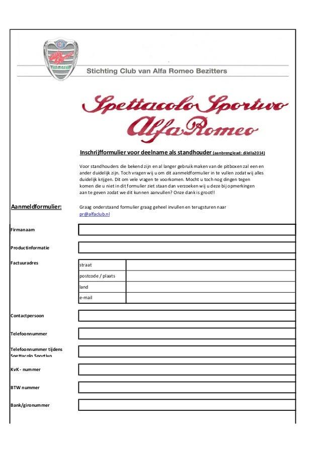 Aanmeldformulier Spettacolo Sportivo 2014