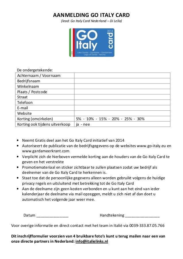 Aanmeldingsformulier GO ITALY CARD Nederland