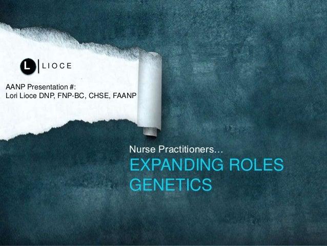 Nurse Practitioners… EXPANDING ROLES GENETICS L I O C EL AANP Presentation #: Lori Lioce DNP, FNP-BC, CHSE, FAANP