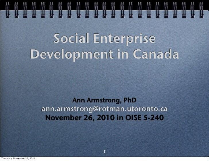 Social Enterprise Development in Canada with Ann Armstrong