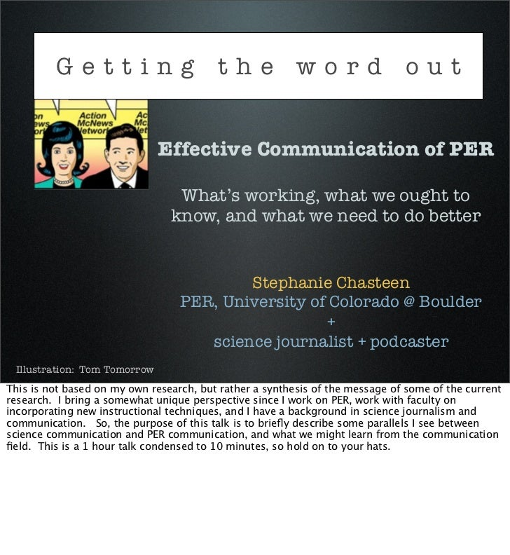 Getting the word out                              Effective Communication of PER                                 What's wo...
