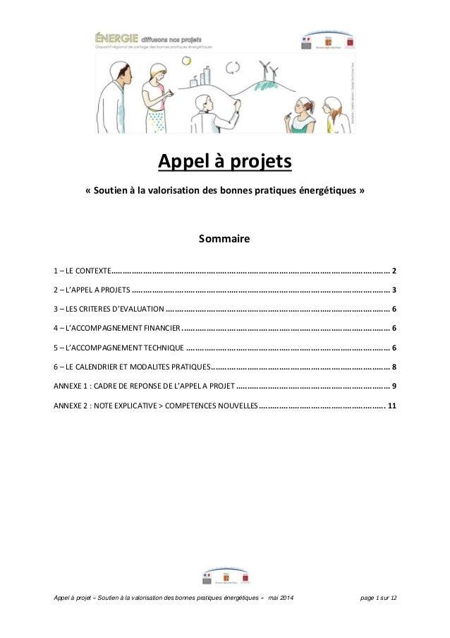 Appel à projet « Soutien à la valorisation des bonnes pratiques énergétiques » mai 2014 page 1 sur 12 Appel à projets « So...