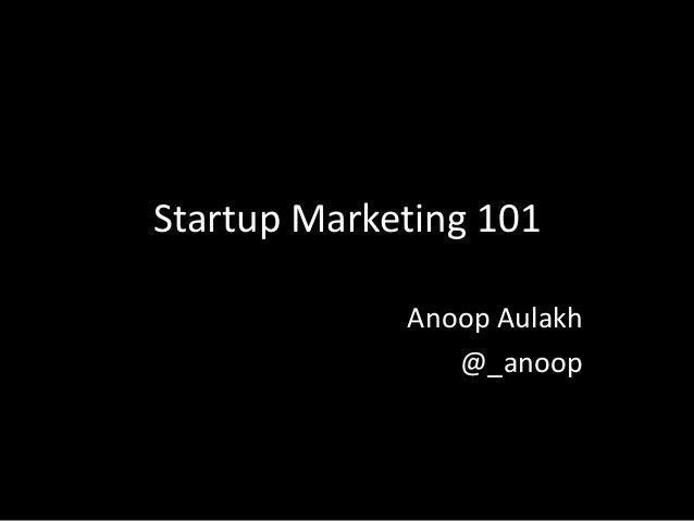 Startup Marketing 101 - RADIUS SFU