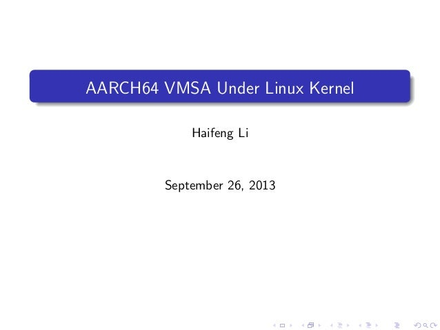AARCH64 VMSA Under Linux Kernel