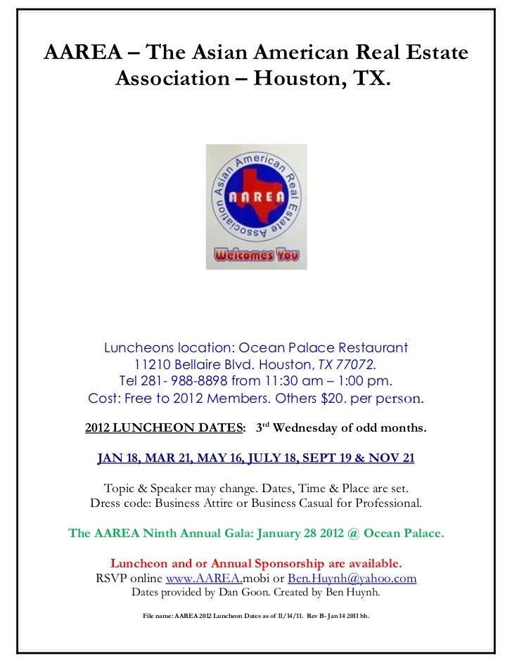 AAREA – The Asian American Real Estate     Association – Houston, TX.       Luncheons location: Ocean Palace Restaurant   ...