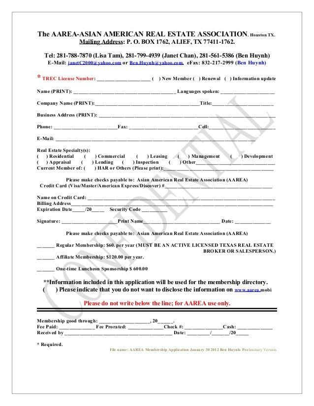 The AAREA-ASIAN AMERICAN REAL ESTATE ASSOCIATION. Houston TX. Mailing Address: P. O. BOX 1762, ALIEF, TX 77411-1762. Tel: ...