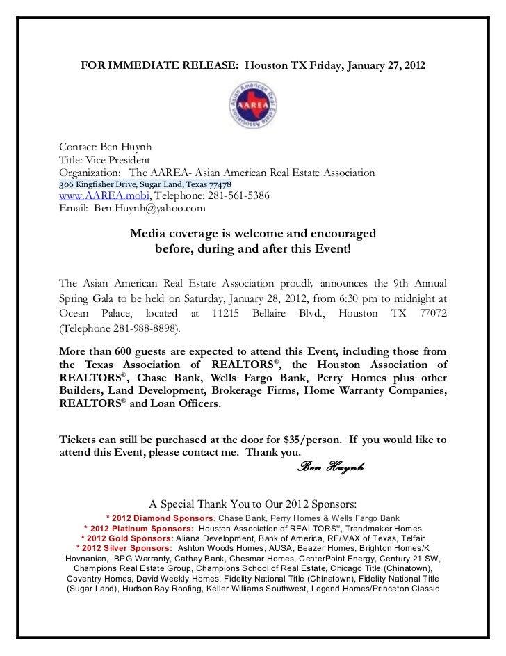 Aarea press release for the aarea 2012 gala ben huynh --