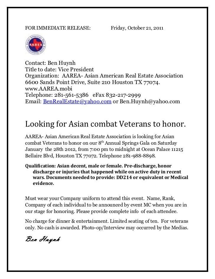Aarea press release veteran wanted for aarea gala 1.28.12 ben huynh