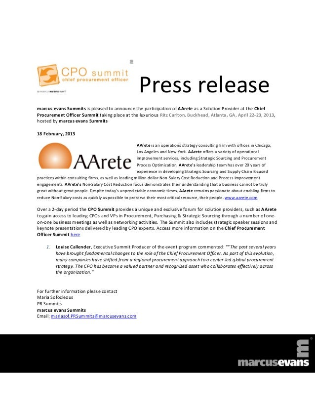 Press releasemarcus evans Summits is pleased to announce the participation of AArete as a Solution Provider at the ChiefPr...