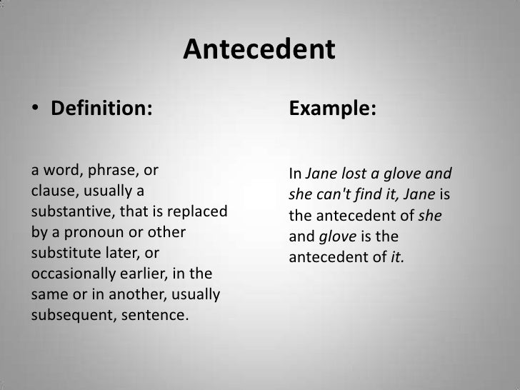 antecedents word Antecedent definition: 1 someone or something existing or happening before, especially as the cause or origin of something existing or happening later: 2 a word or phrase that a pronoun refers back to: 3 previous:.