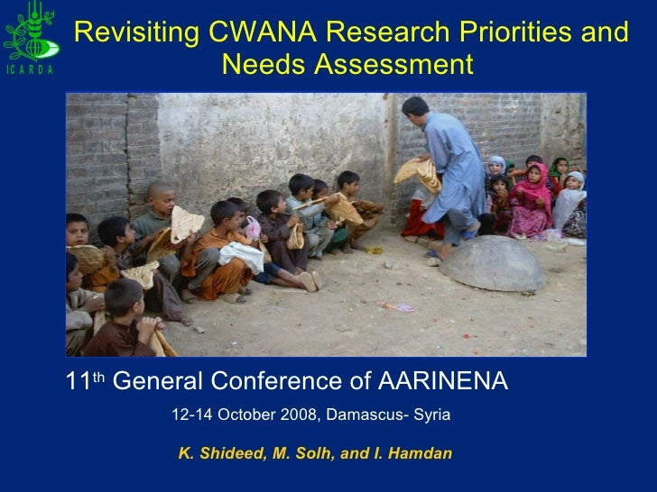 Revisiting CWANA Research Priorities & Needs Assessment,Dr. K. Shideed
