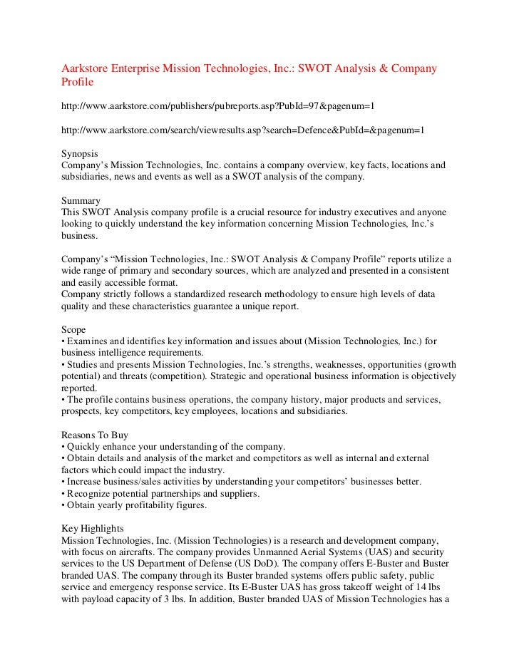 Aarkstore Enterprise Mission Technologies, Inc.: SWOT Analysis & CompanyProfilehttp://www.aarkstore.com/publishers/pubrepo...