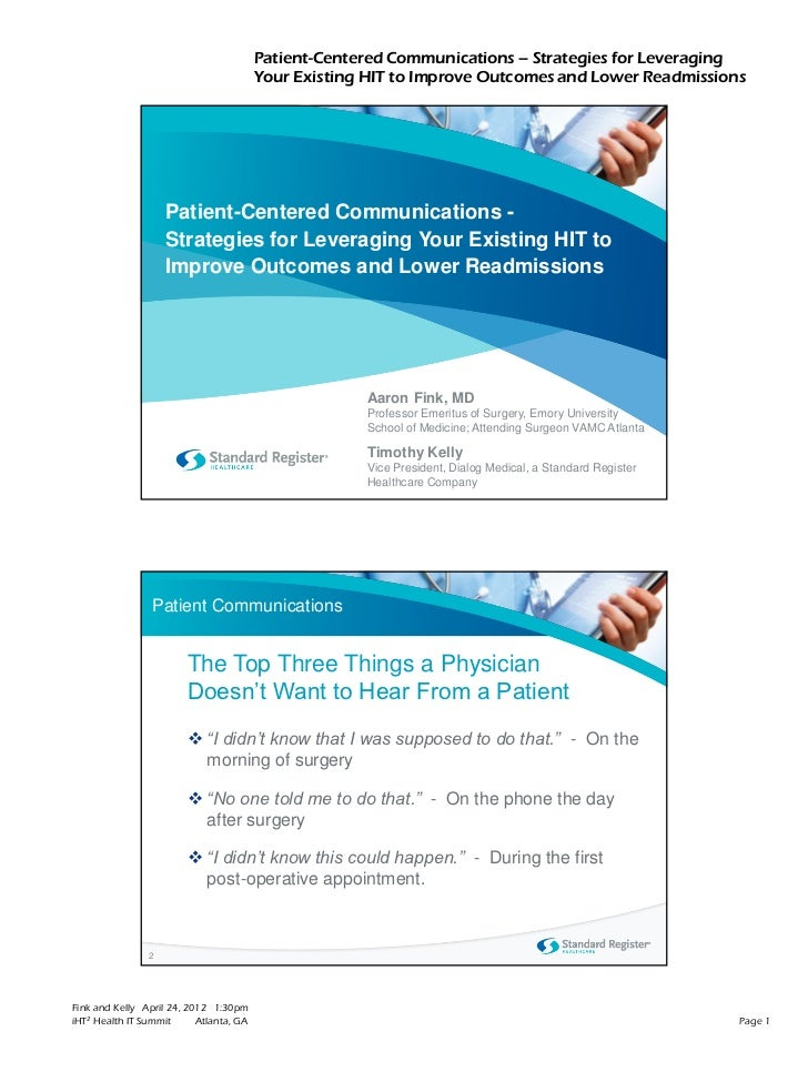 Patient-Centered Communications – Strategies for Leveraging                                         Your Existing HIT to I...