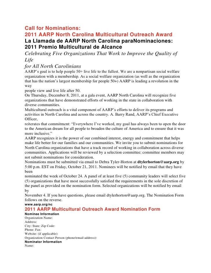 Call for Nominations:2011 AARP North Carolina Multicultural Outreach AwardLa Llamada de AARP North Carolina paraNominacion...