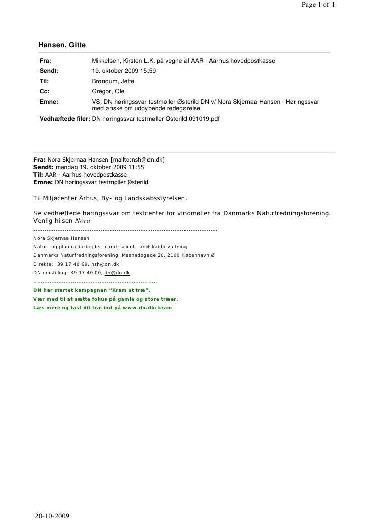 19.10.2009, Danmarks Naturfredningsforening: Indsigelse Akt nr. 50, møller, fugle mm