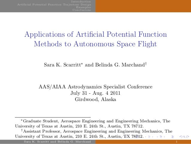 Introduction Artificial Potential Function Trajectory Design Examples Conclusions Applications of Artificial Potential Func...