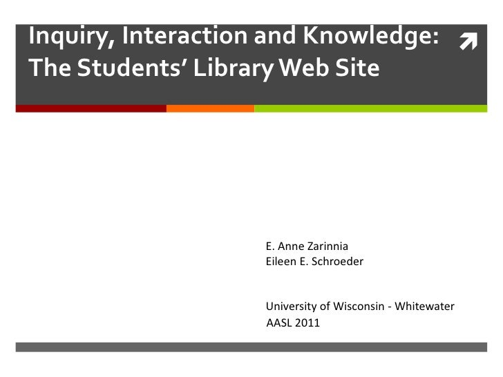 Inquiry, Interaction and Knowledge: The Students' Library Web Site                   E. Anne Zarinnia                   E...