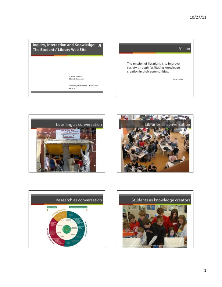 10/27/11 Inquiry, Interaction and Knowledge:  ì The Students' Library Web Site                     ...