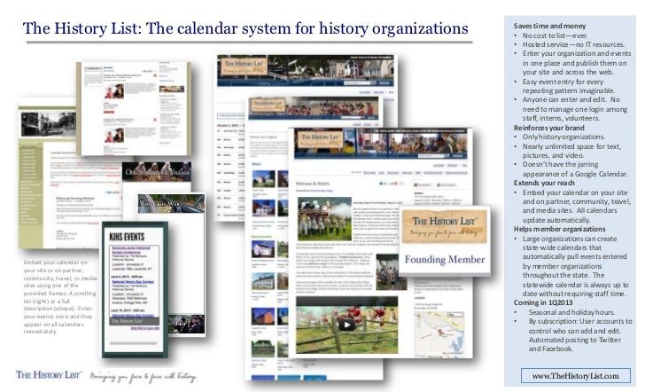 The History List: The calendar system for history organizations   Saves time and money                                    ...