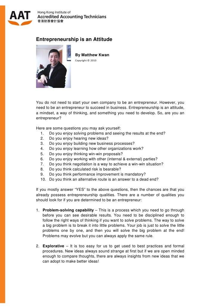 Entrepreneurship is an Attitude 20100628
