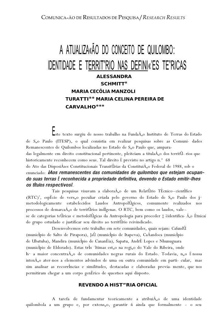COMUNICA«ÃO DE RESULTADOS DEPESQUISA/RESEARCH RESULTS                   COMUNICA«ÃO RESULTADOS                            ...
