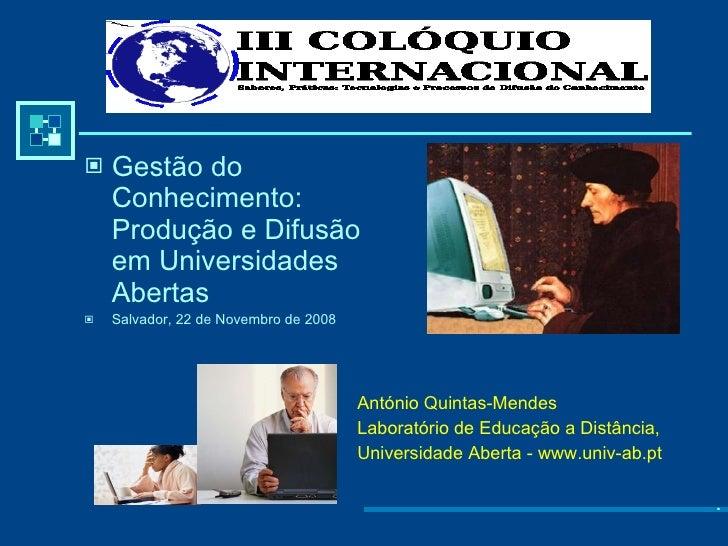 Universidades Abertas e Educação Online
