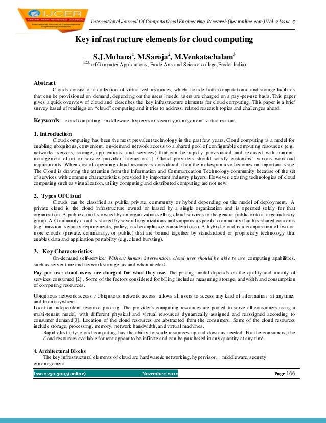 I nternational Journal Of Computational Engineering Research (ijceronline.com) Vol. 2 Issue. 7                   Key infra...