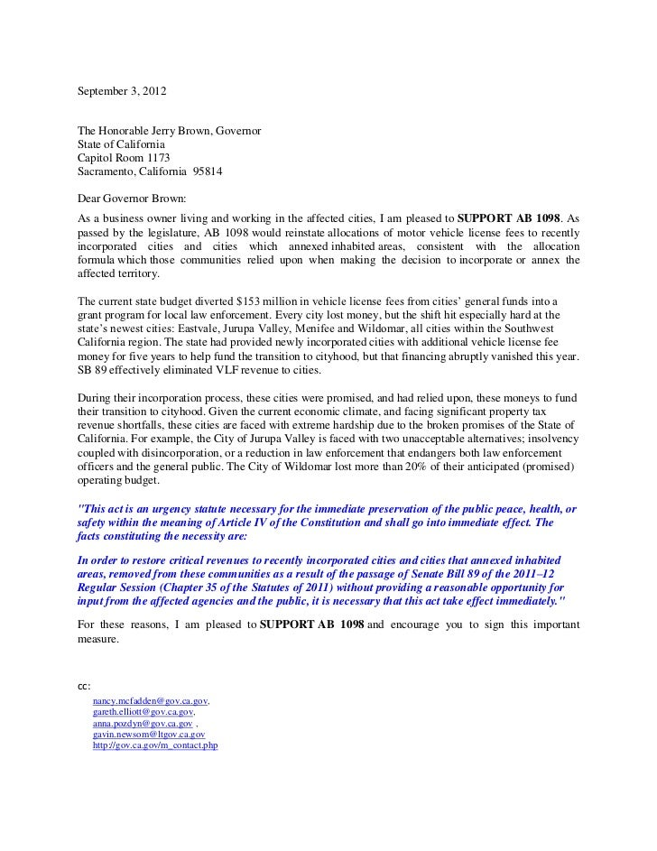 September 3, 2012The Honorable Jerry Brown, GovernorState of CaliforniaCapitol Room 1173Sacramento, California 95814Dear G...