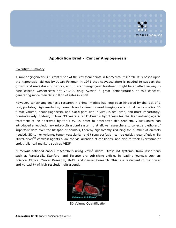 Application Brief – Cancer AngiogenesisExecutive SummaryTumor angiogenesis is currently one of the key focal points in bio...