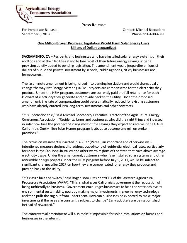 Press Release For Immediate Release: Contact: Michael Boccadoro September5, 2013 Phone: 916-600-4383 One Million Broken Pr...