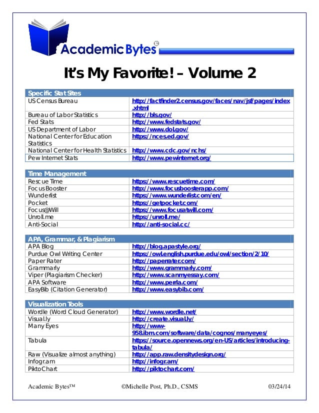 It's My Favorite! – Volume 2 Specific Stat Sites US Census Bureau http://factfinder2.census.gov/faces/nav/jsf/pages/index ...