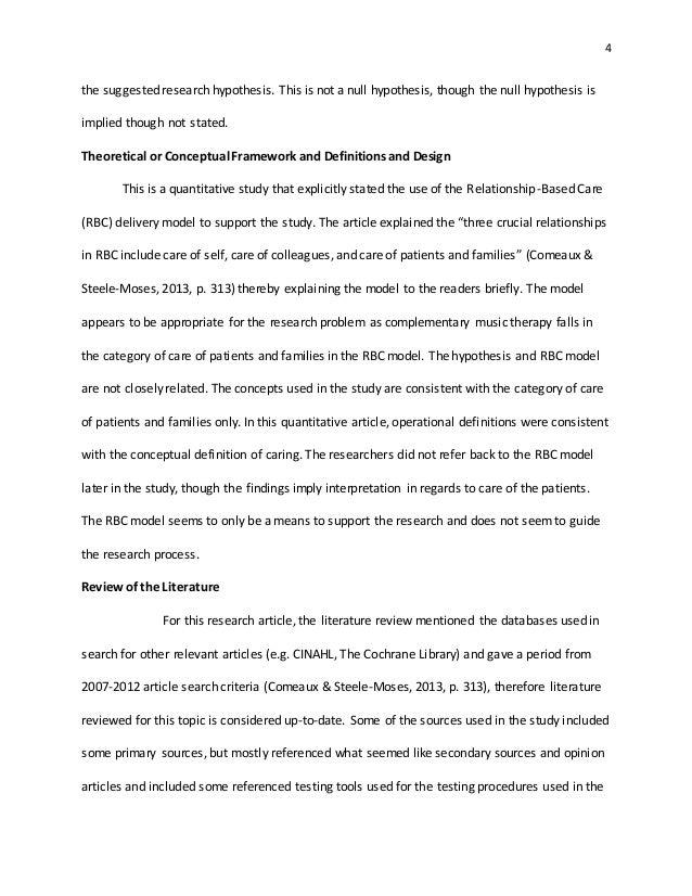 quantitative article critique essay