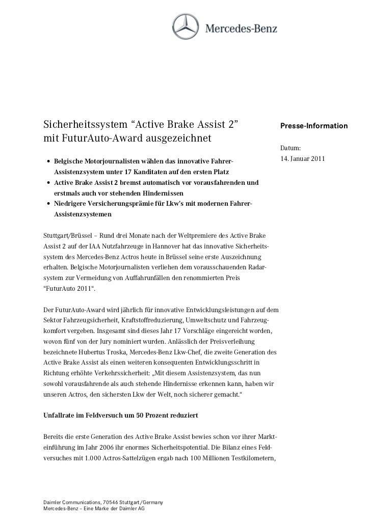 """Sicherheitssystem """"Active Brake Assist 2""""                                            Presse-Informationmit FuturAuto-Award..."""