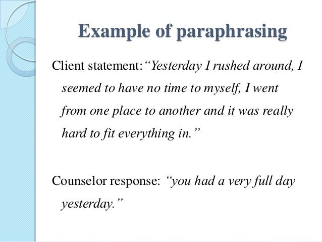 Paraphrasing in counselling microsoft word