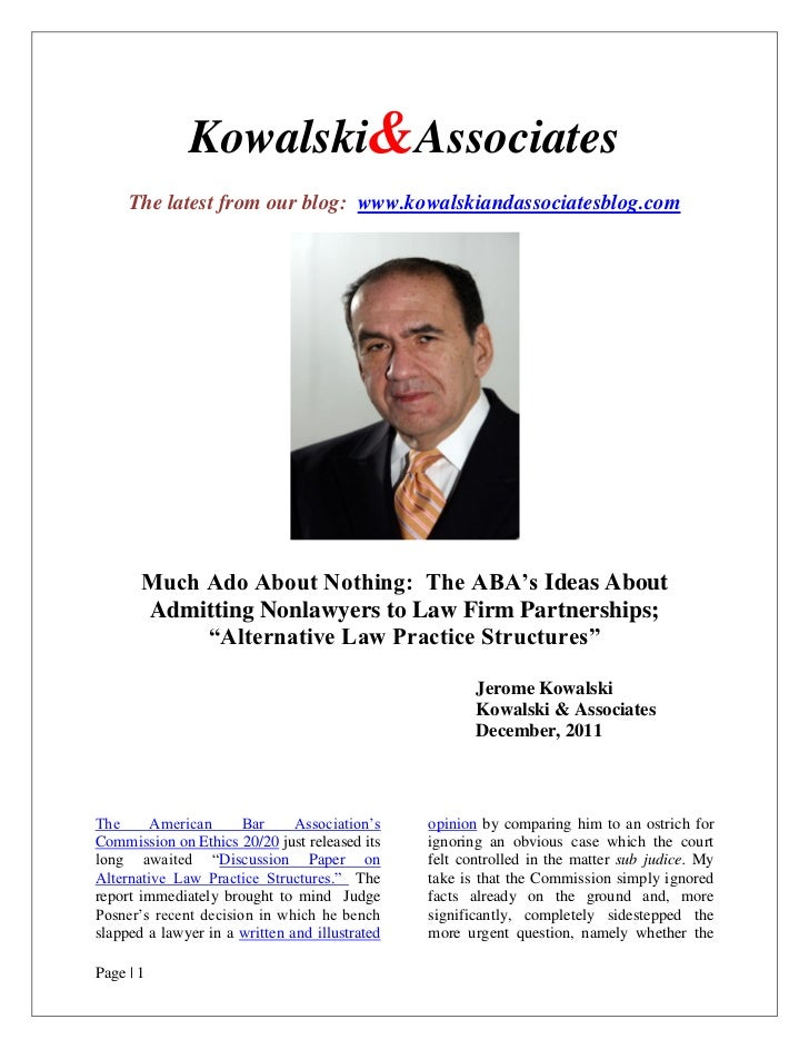 "The ABA's Ideas About Admitting Nonlawyers to Law Firm Partnerships; ""Alternative Law Practice Structures"""
