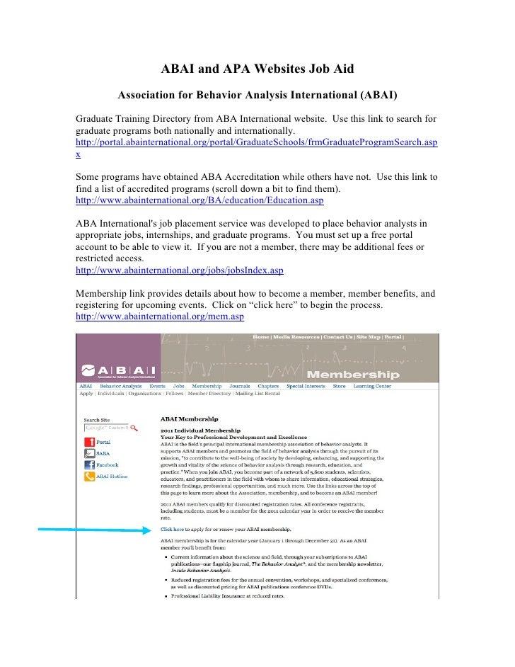 ABA intl. and APA website Job Aid