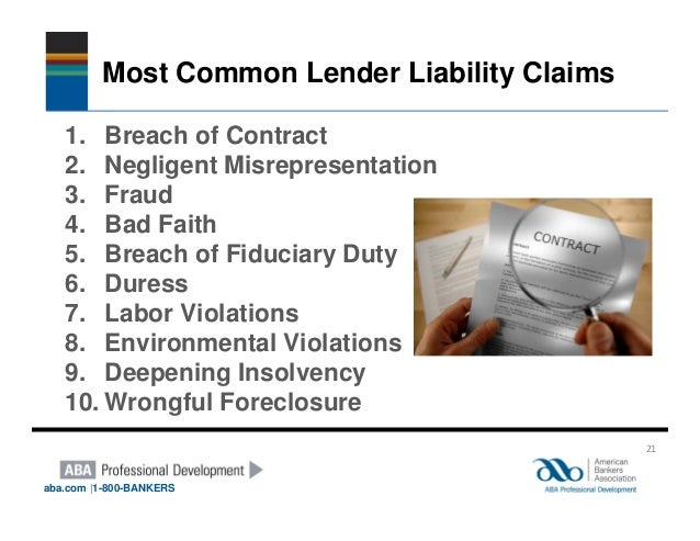 lender liability and the duty of 6 participatory liability for breach of trust or fiduciary duty pauline ridge i introduction confusion surrounds the equitable liability of a third party to a trust or.
